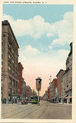 Water Street Traffic Tower Elmira New York Vintage Post Card