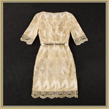 Sweetheart Gold Embroidery Lace Sheath Knee Length Dress Three Quarter Sleeves image 3