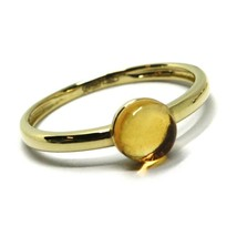 SOLID 18K YELLOW GOLD RING, CABOCHON CENTRAL CITRINE, DIAMETER 6mm image 1