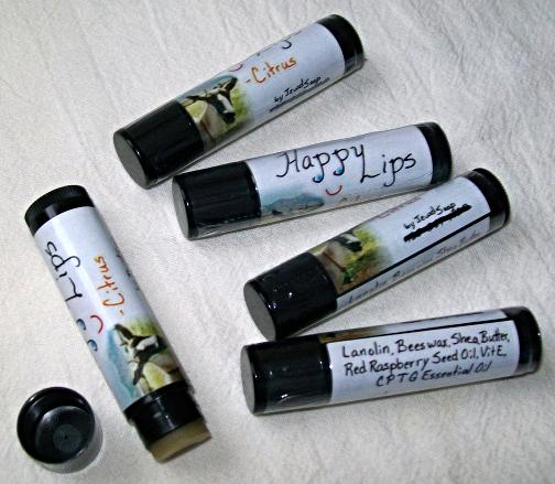 Happy Lips-lip balm, Citrus, Wintergreen, Peppermint, RefreshMint by Jewel Soap