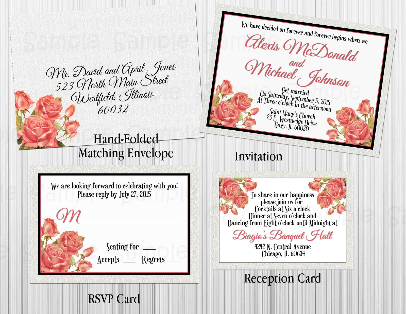 Roses & Lace Wedding invitation Set: RSVP, Reception, Invitation, Envelope