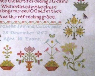 Isabells Jemima Cathcpoole 1857 Antique Sampler Reproduction Samplers Revisited