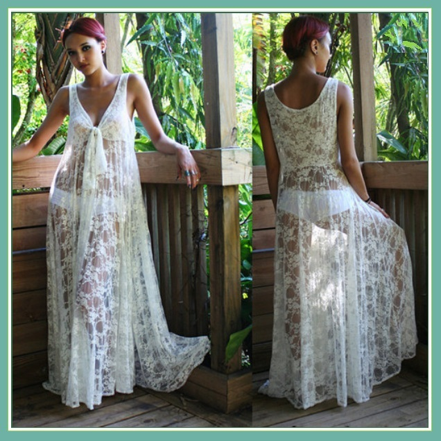 White Long Sleeveless Bohemian V Neck Floral Lace Casual Beach Dress Lounger