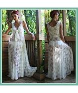 White Long Sleeveless Bohemian V Neck Floral Lace Casual Beach Dress Lou... - $112.95