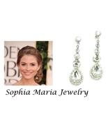 Austrian crystal long dangle earrings teardrop ... - $12.86