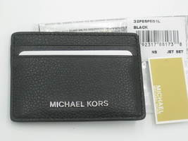 Michael Kors Jet Set Black Pebble Leather Card Holder Case Wallet NWT Or... - $36.00