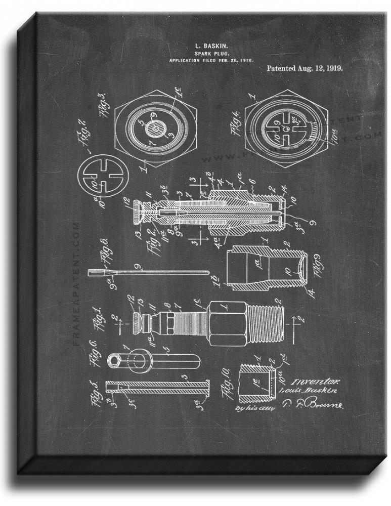 Primary image for Spark Plug Patent Print Chalkboard on Canvas
