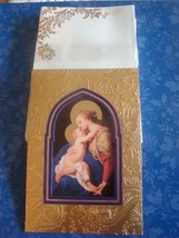 Madonna & Child Renaissance Art Hallmark 10 Embossed Felt Christmas Card... - $6.95