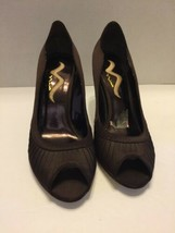 "Brown Nina 10M Women's Pumps 4"" High Heels Dressy Open Toe  Cloth Spike - $14.01"