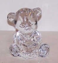 Lovely Signed Waterford Crystal Teddy Bear Holding Alphabet Block Figurine - $21.87