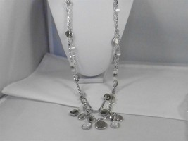 Signed White House Black Market Silver Tone Resin Drop Necklace p1170717 - $26.17