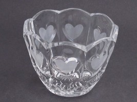 24%  lead crystal bowl, Hearts, Made in USA ,glass - $17.60