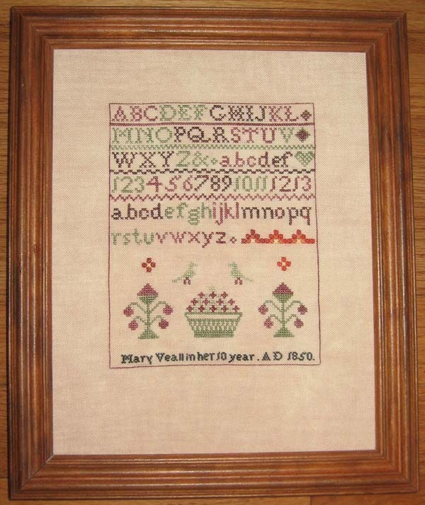 Mary Veall 1850 Antique Sampler Reproduction cross stitch chart Samplers Revisit