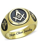 MEN'S GOLD TONE STAINLESS STEEL ROUND EPOXY MASONIC RING - SIZE 8 - 13 - $16.20