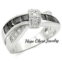 Women's Silver Tone Black & White Princess Cut Cz Fashion Ring Size 5 - $16.64