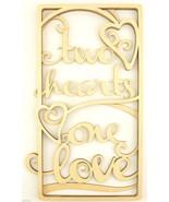 Flourish Cut Wood Wall Hanging Two Hearts One Love Anniversary Wedding G... - $25.00