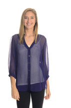 8 Diane Von Furstenberg Elias Purple Button Front Silk Blouse 3/4 Sleeve... - $138.59