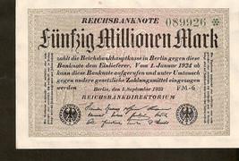Germany banknote Reichsbanknote 50 MILLIONEN MARK 1923  no. 089926 - UNC - $7.00