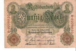 nofa. Germany banknote 50 Mark 1910 Ser. B.6008920 - $9.00