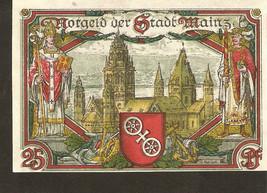Not3. Germany Notgeld der Stadt Mainz  25 Pfennig 1921 - with watermark - $4.00