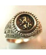Golden Heraldic lion signet ring Sterling Silve... - $66.33
