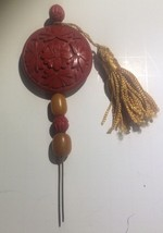"Vintage Carved Cinnabar Bead Hat Stick Hair Pin 5.25"" Butterscotch Tassel - $45.42"