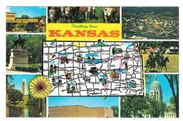 Greetings Kansas Map Multiview Landmarks Vintage Postcard - $4.99