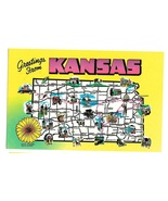 Greetings from Kansas State Map Highways Cities Vtg Postcard - $4.99