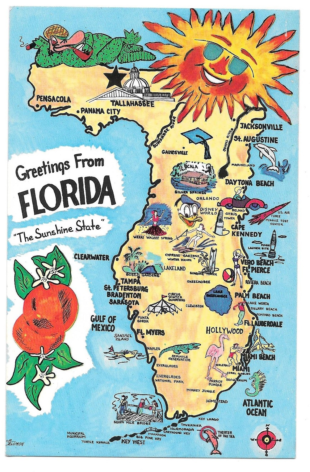 Florida Illustrated Map Landmarks Cities FL And  Similar Items - Florida map beach