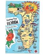Florida Illustrated Map Landmarks Cities FL Vintage Postcard - $4.99