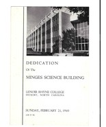 Program Dedication Mingus Science Building Lenoir Rhyne College Hickory ... - $9.99