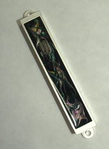 Judaica Mezuzah Case Black Pink Colorful Metal Epoxy Stripe Silver SHIN 7 cm