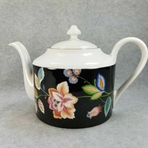 Oscar de la Renta Teapot Clarion UH043 Fine China West Germany Black Floral - $89.00