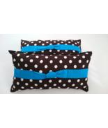 Charming Pillows Handmade Polka Dot Brown White Long Pillow Turquoise Bow Pair - £32.72 GBP
