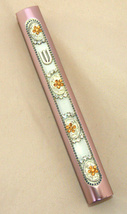 Judaica Mezuzah Case Pink Aluminum Decorated Clear Yellow Crystals SHIN 10 cm image 2