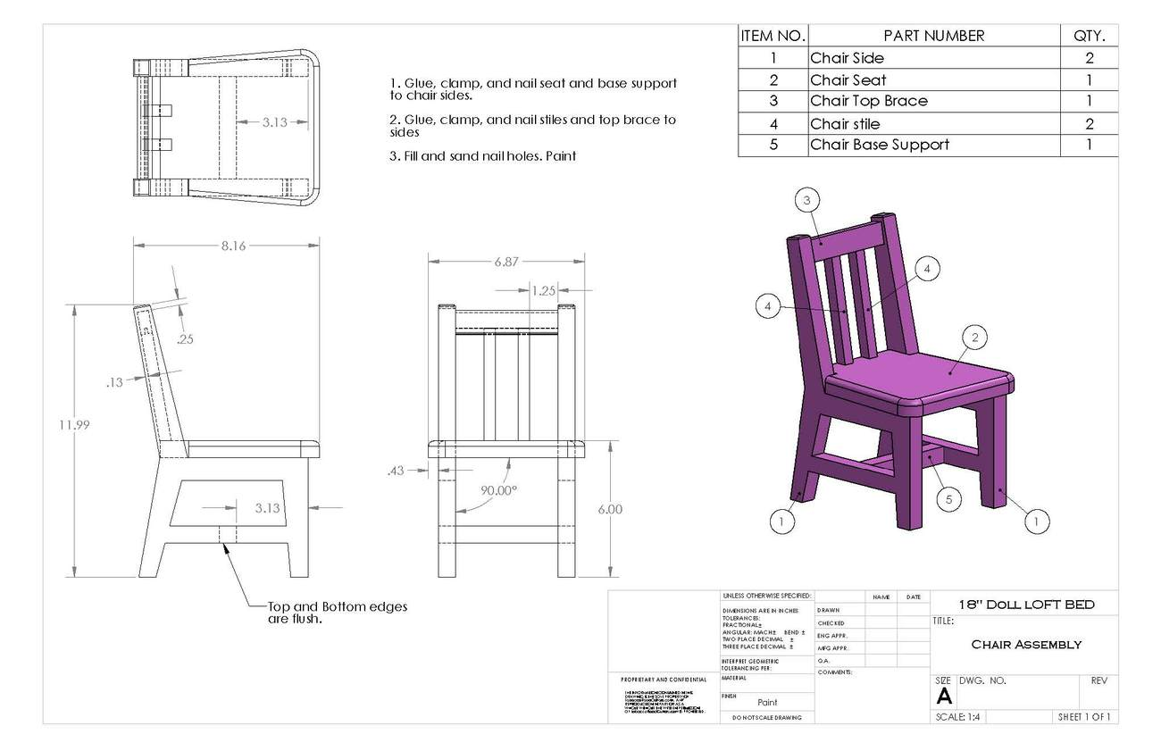 "18"" Doll Loft and Chair Woodworking Plans and Instructions. Great for AG Dolls!"