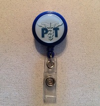 Physical Therapist Pt Badge Reel Id Holder blue alligator clip handmade new - $6.95