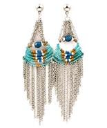 Long fringe seed bead chandelier Egyptian style... - $11.87