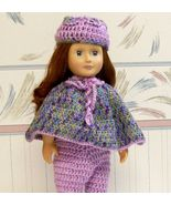 American Girl Poncho and Hat, Purple, Handmade, Crochet - $25.00