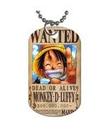 Monkey D. Luffy Wanted Poster One Piece Manga Anime Dog Tag necklace Key... - $10.00