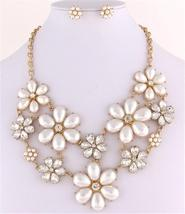 Stunning flower bib cream pearl necklace set birdal evening party prom jewelry image 1