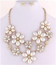 Stunning flower bib cream pearl necklace set birdal evening party prom jewelry image 3