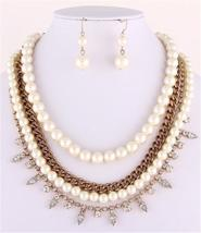 Stunning layered ivory pearl gold clear crystal necklace set bride prom ... - $24.74