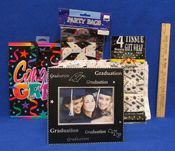 Graduation Party Lot Picture Frame Tissue Paper Gift Bag Cellophane Goody Bags  - $12.22