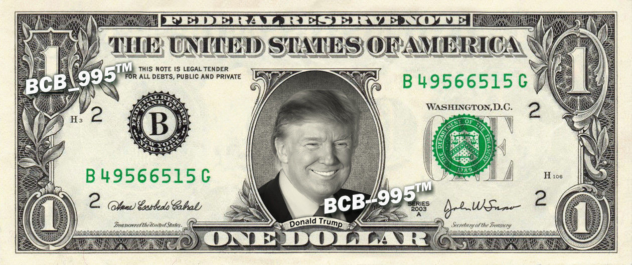 Primary image for DONALD TRUMP on a REAL Dollar Bill Cash Money Collectible Memorabilia Celebrity