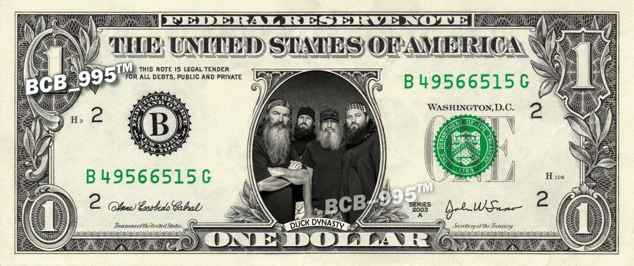 Primary image for DUCK DYNASTY on REAL Dollar Bill - Celebrity Collectible Custom Cash $1 Mint!
