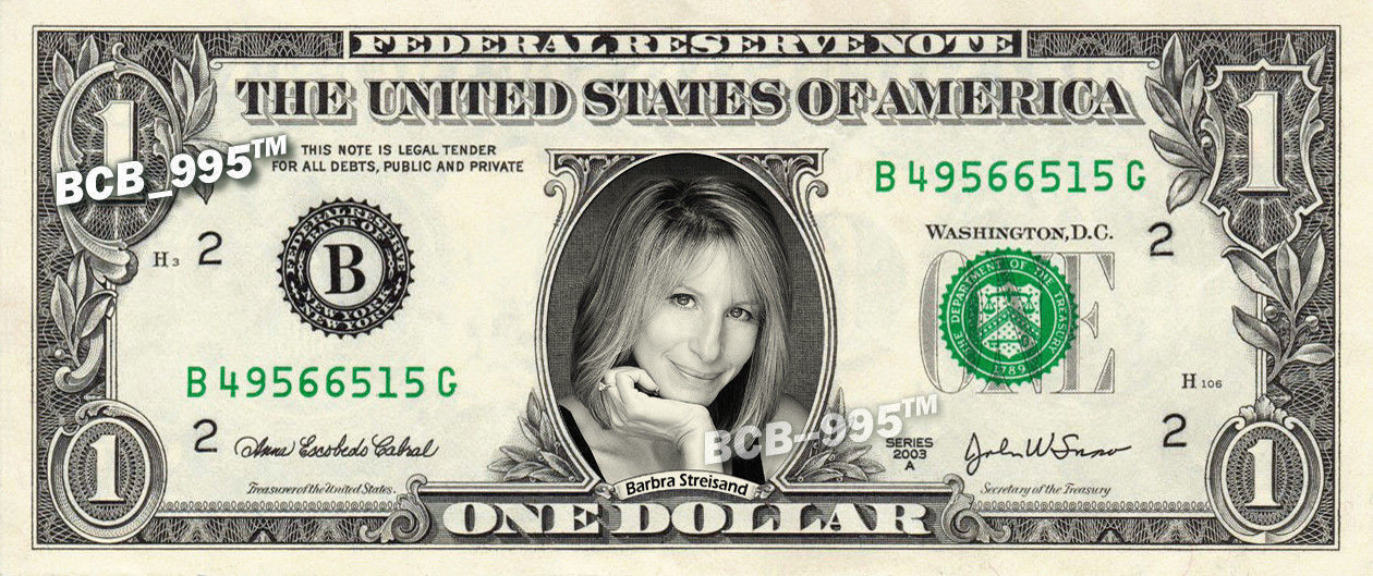 Primary image for BARBRA STREISAND on REAL Dollar Bill - Celebrity Collectible Custom Cash