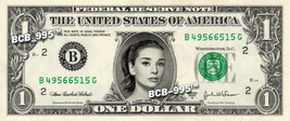AUDREY HEPBURN on REAL Dollar Bill - Celebrity Collectible Custom Cash - $3.33