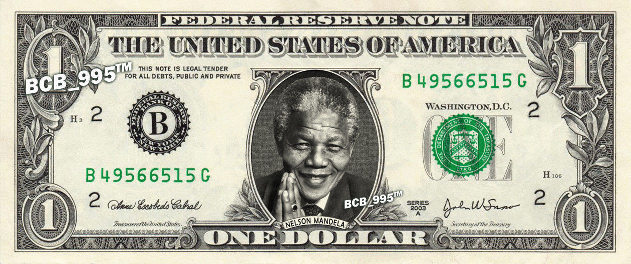 Primary image for NELSON MANDELA on REAL Dollar Bill - Celebrity Collectible Custom Cash