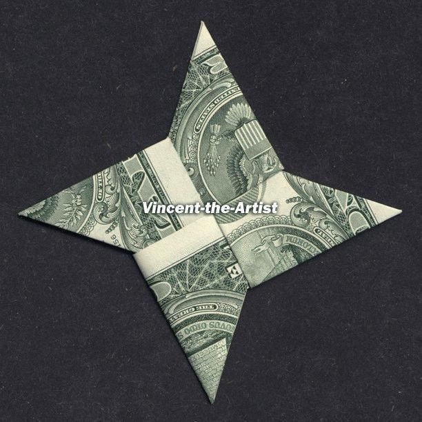 Money Origami 4-POINT NINJA STAR - Dollar Bill Art - Made ... - photo#19